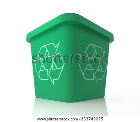 Recycle Bin with Recycle Sign. 3d Rendering illustration isolated on white. - stock photo