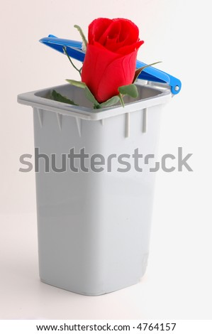 Recycle bin with rose