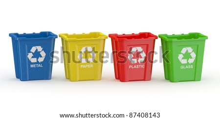Recycle bin with sign of recycling. Sort by material. 3d
