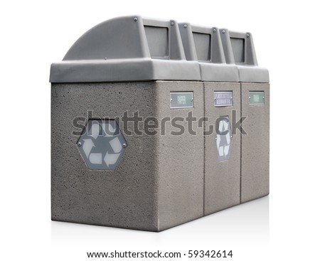 Recycle bins for paper, plastic, and aluminum - stock photo