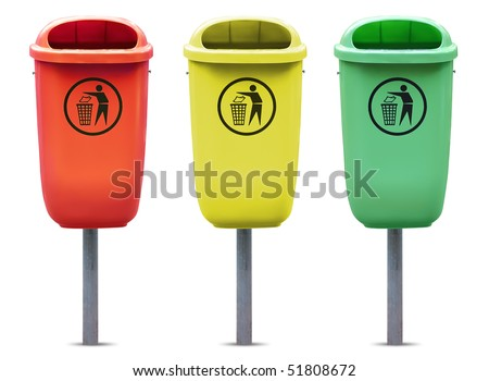 Recycle bins in different colors isolated against white background.