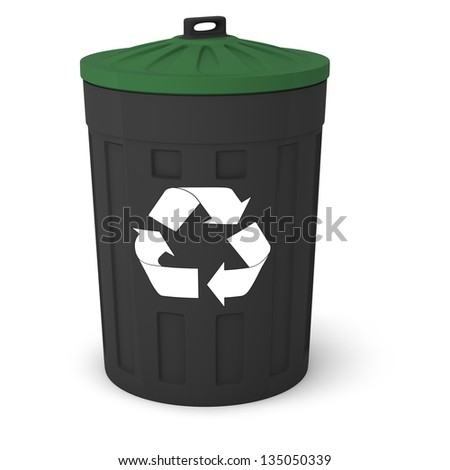 Recycle bins on a white background. ( garbage bins )