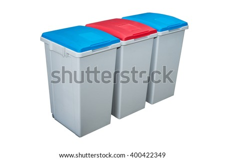 Recycle Bins, Three plastic bins. Blue and red. - stock photo