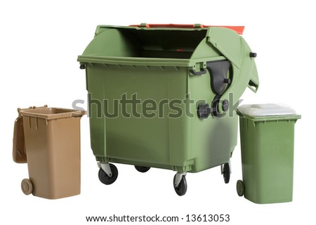 recycle bins- two small and a bigger one - stock photo