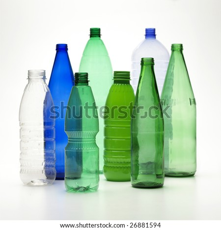 Recycle bottles isolated on a white background - stock photo