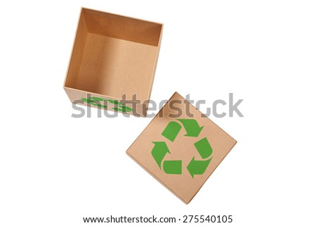 Recycle box with clipping path. - stock photo