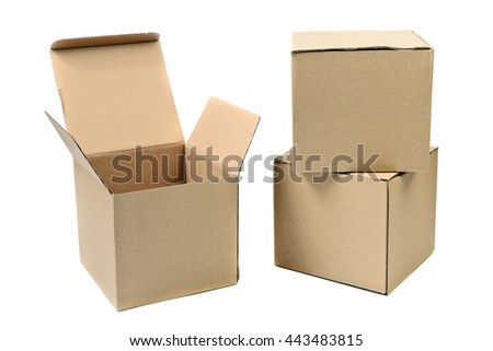 recycle brown box packaging - stock photo