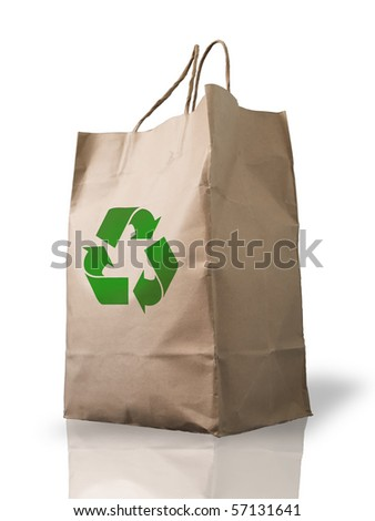 Recycle Brown Crumpled paper Bag form the market - stock photo