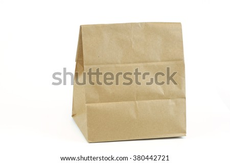 recycle brown paper bag isolated on white background
