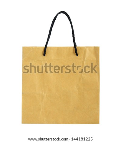 recycle brown paper bag isolated on white with clipping path