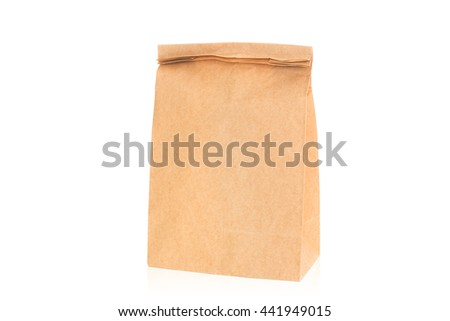 recycle brown paper bag on white background - stock photo