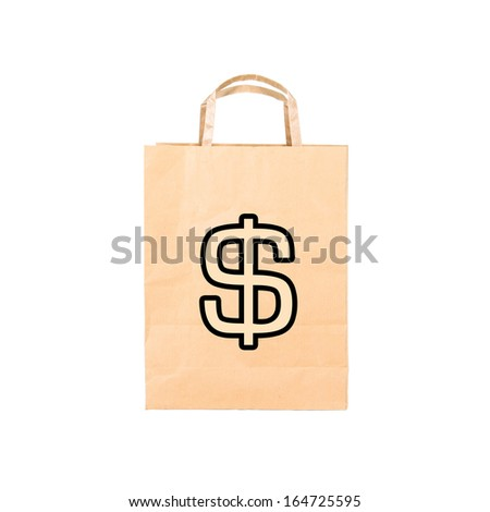 Recycle brown paper bag with sign $, closeup on white - stock photo