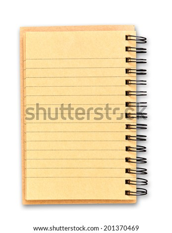 recycle brown paper notebook isolated on white background with clipping path