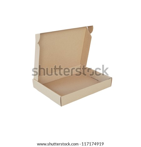 recycle cardboard box package isolated on white background - stock photo