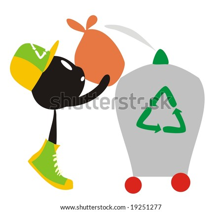 Recycle cartoon, leaving a trash plastic bag into a container, on a white background - stock photo