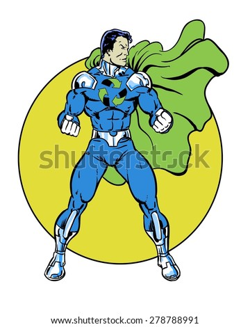 Recycle comic book super hero standing in heroic pose for the environment with yellow circle - stock photo