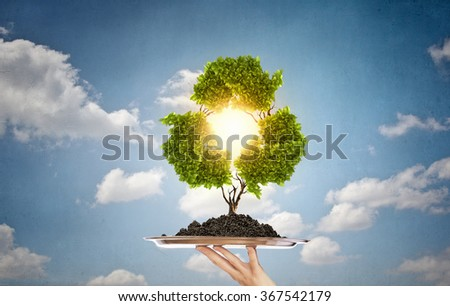 Recycle concept on tray - stock photo