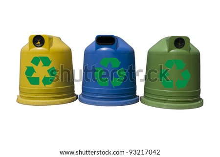 Recycle containers for glass, metal, plastic and paper isolated on white background - stock photo