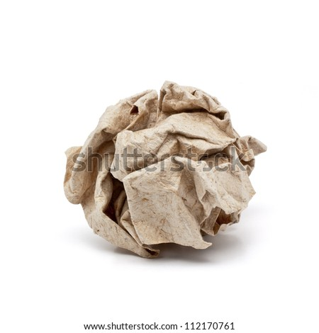 Recycle crumpled paper ball - stock photo