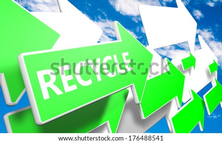 Recycle 3d render concept with green and white arrows flying upwards in a blue sky with clouds - stock photo