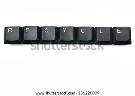 recycle from black keyboard isolated on the white background - stock photo
