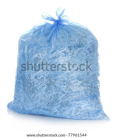 recycle - garbage bag full of shredded paper - stock photo