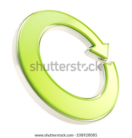 Recycle glossy icon as circle round green and metal arrow emblem isolated on white - stock photo