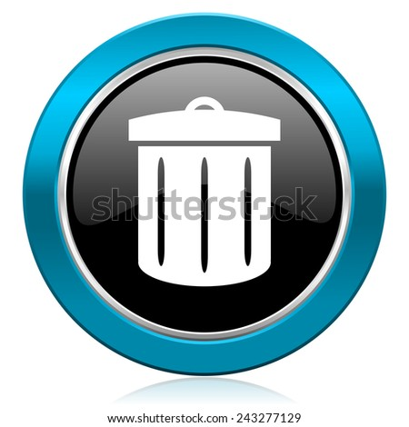 recycle glossy icon recycle bin sign  - stock photo