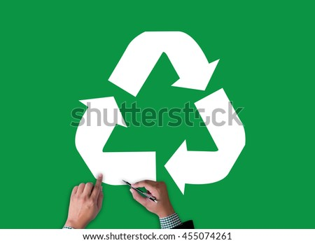 Recycle Green bio eco forest saving environment harmony ecosystem conservation csr esg campaign businessman work on white broad, top view - stock photo