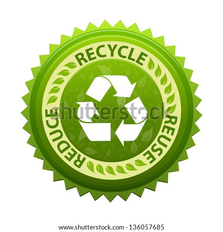 Recycle green emblem or symbol with text recycle, reuse, reduce - icon isolated on white background - stock photo