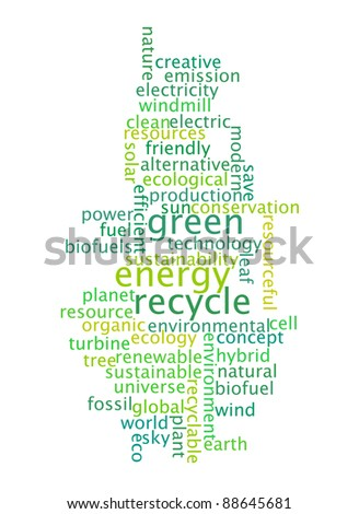 recycle green energy info-text graphics and arrangement concept on white background (word cloud) - stock photo