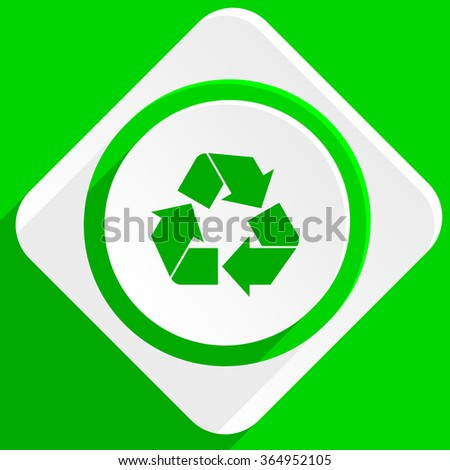 recycle green flat icon