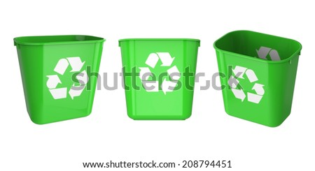 Recycle green garbage can plastic isolated on white background.Easy editable for your design.