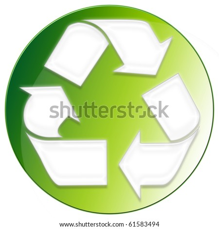 Recycle Icon - green color - stock photo