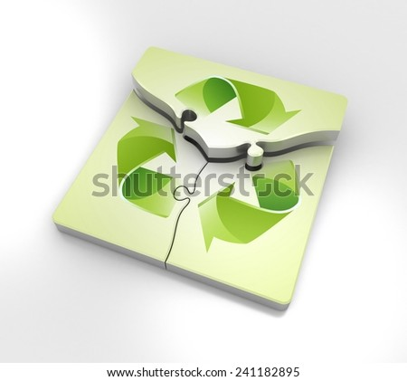 Recycle Icon in a jigsaw puzzle - stock photo