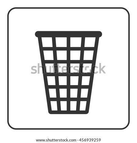 Recycle icon. Trash bin black sign, isolated on white background. Flat modern object design. Symbol of rubbish, waste, garbage or trashcan, dustbin. Basket object for clean office. illustration - stock photo