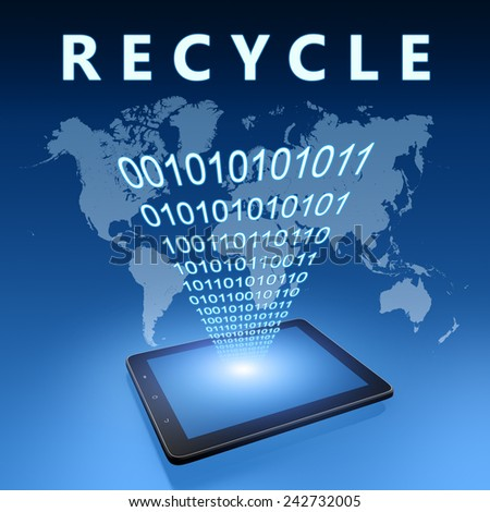 Recycle illustration with tablet computer on blue background - stock photo