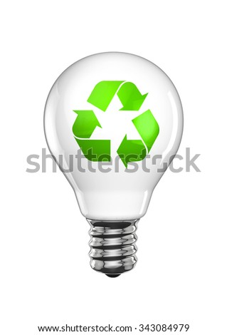Recycle light bulb / 3D render of light bulb with recycling symbol - stock photo