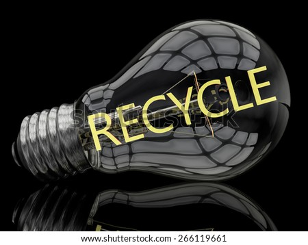 Recycle - lightbulb on black background with text in it. 3d render illustration. - stock photo