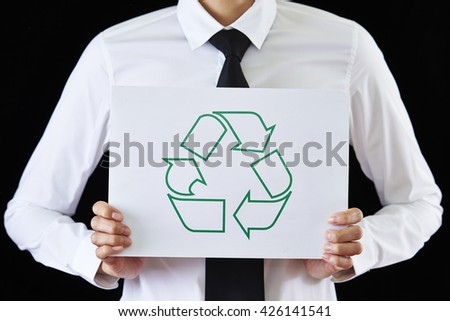 Recycle logo card - stock photo