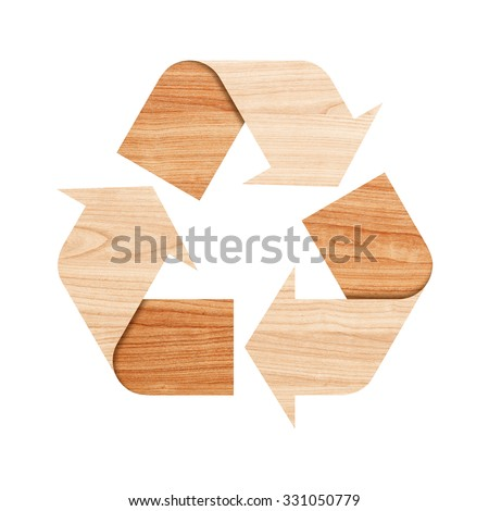 Recycle logo isolated made of plywood with Clipping Path included. - stock photo