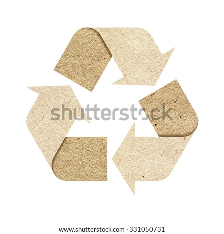 Recycle logo isolated made of recycled paper with Clipping Path included. - stock photo