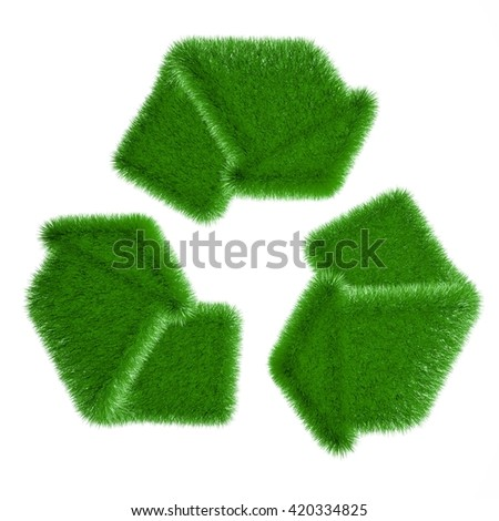 Recycle logo symbol from the green grass. 3D rendering - stock photo