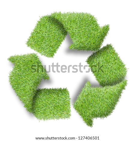 Recycle logo symbol from the green grass, isolated on white - stock photo