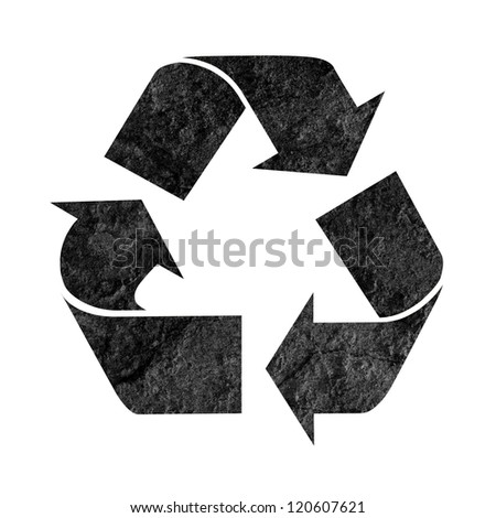 recycle logo symbol isolated on white with a dark grunge texture - stock photo