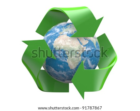 Recycle logo with earth globe inside isolated on a white background - stock photo