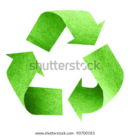 Recycle Logo with old paper - stock photo