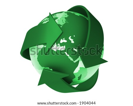 Recycle logo withe the earth inside - stock photo