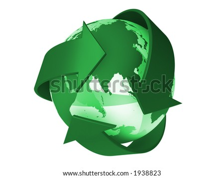 Recycle logo withe the earth inside