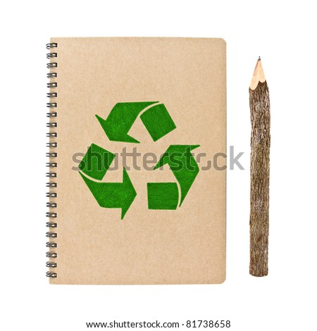 recycle notebook and wooden pencil isolated on white background, conservation concept